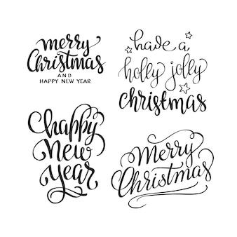 Feliz natal texto caligráfico rotulação projeto conjunto. tipografia criativa para cumprimentos do feriado