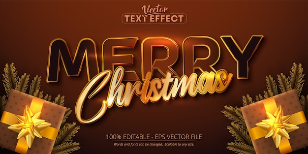 Feliz natal, texto, cor dourada, estilo, efeito de texto editável