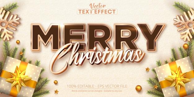 Feliz natal, texto, cor ouro rosa, estilo, efeito de texto editável