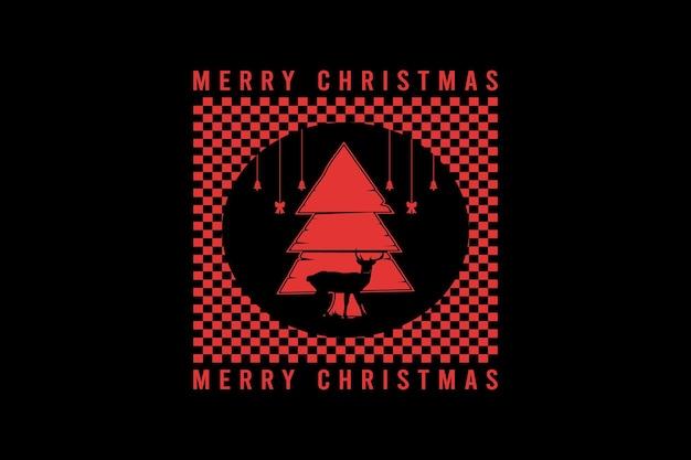 Feliz natal, tipografia de maquete de silhueta de cipreste