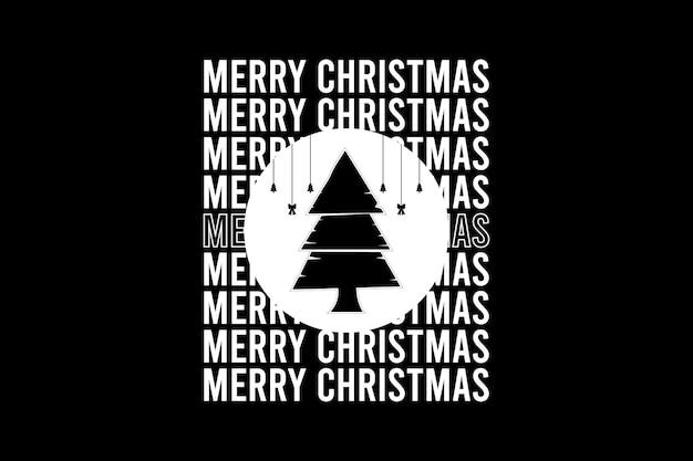 Feliz natal, tipografia de maquete de silhueta