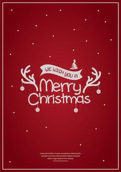 Feliz natal tipografia pôster designcartão ou convite e votos de natal
