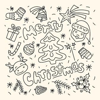 Feliz natal. um conjunto de elementos de natal no estilo doodle.