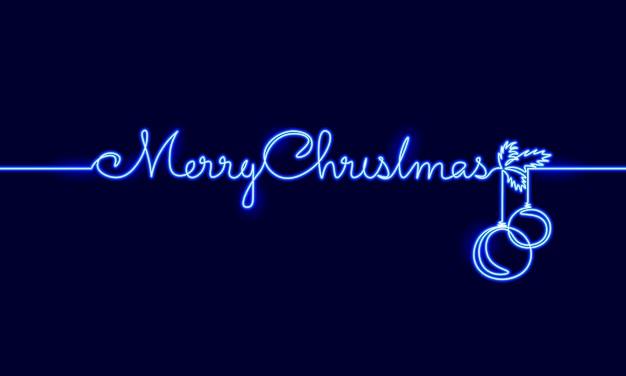 Feliz natal única linha contínua de arte. férias cartão decoração bola de árvore de natal letras silhueta conceito design um esboço esboço desenho