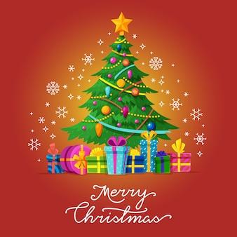 Feliz natal vector cartão com árvore de natal