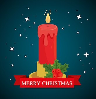 Feliz natal vela desenho, inverno e decoração