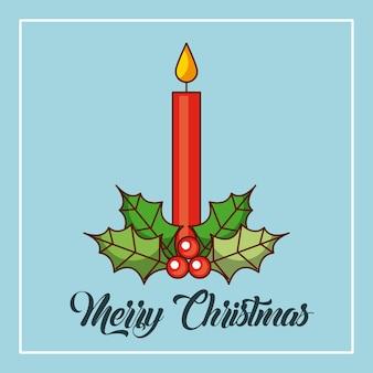 Feliz natal, velas, queimando, holly, baga, decoração