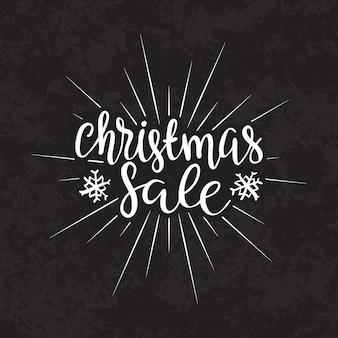 Feliz natal venda texto caligráfico lettering modelo de cartão de design.