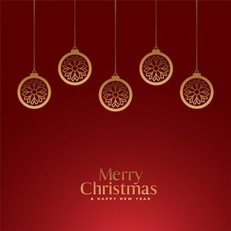 Feliz natal vermelho fundo real com bolas de ouro