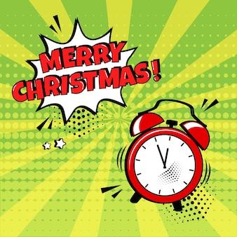 Feliz natal vetor despertador em quadrinhos com balão sobre fundo verde. efeito de som em quadrinhos, estrelas e sombras de pontos de meio-tom no estilo pop art. ilustração de férias