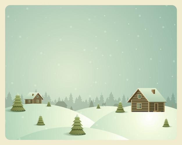 Feliz natal vintage cartão aldeia e floresta