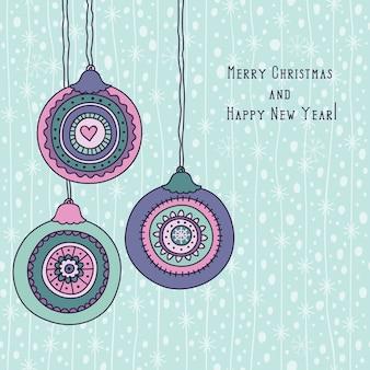 Feliz natal vintage e saudações de feliz ano novo com enfeites de natal