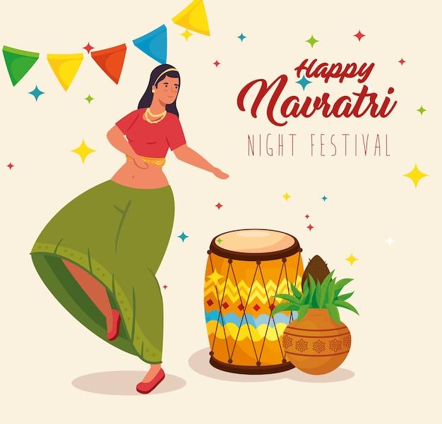 Feliz navratri, pôster de celebração do festival noturno com mulher dançando e ilustração de decoração