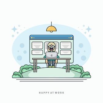 Feliz no trabalho ilustração vector