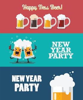 Feliz nova coleção de cerveja. feliz ano novo definido.