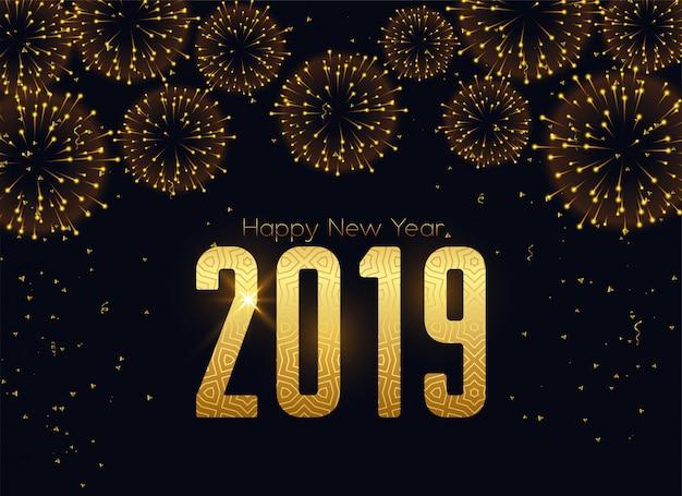 Feliz novo ano 2019 fogos de artifício celebração fundo