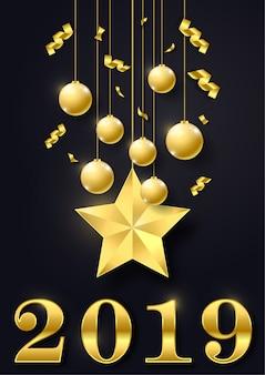 Feliz novo ano de 2019. cartão de boas vindas. design colorido.