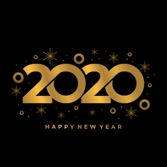 Feliz novo ano de 2020 fundo com cores de ouro