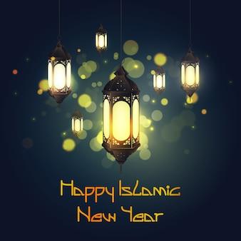 Feliz novo ano islâmico com lanterna de suspensão
