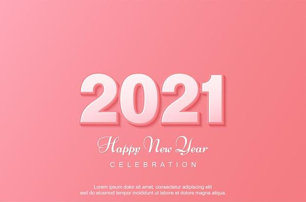 Feliz novo banner em fundo rosa