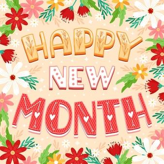 Feliz novo mês de saudação com elementos desenhados