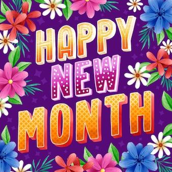 Feliz novo mês saudação com elementos em aquarela
