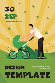 Feliz novo pai andando com o bebê. homem estendendo os braços para o carrinho com modelo de folheto plano infantil