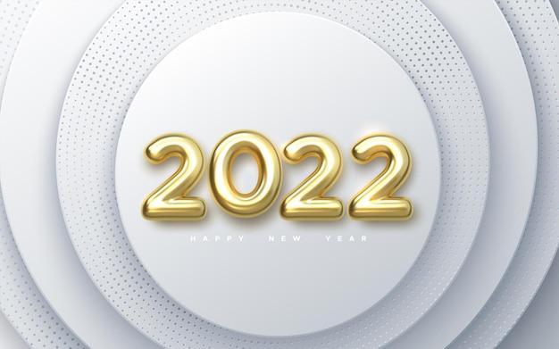 Feliz novo sinal de feriado do ano de 2022 com números dourados de 2022 no fundo de papel branco