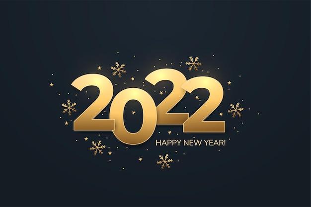 Feliz novo texto dourado de 2022 anos em fundo escuro