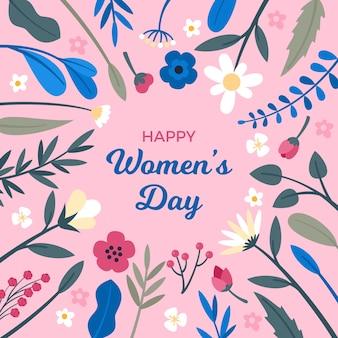 Feliz o dia da mulher com flores e folhas da primavera