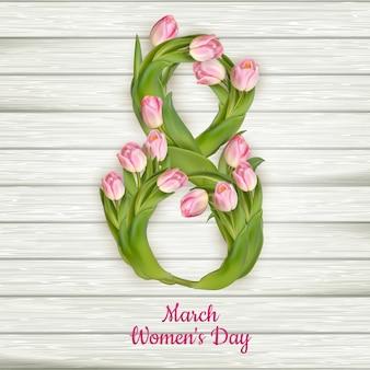 Feliz o dia das mulheres com tulipas.