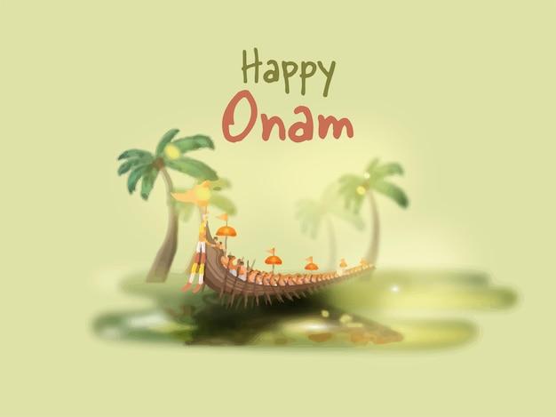 Feliz onam celebração cartaz design com vallam kali (barco cobra) e efeito de borrão coqueiro sobre fundo verde.