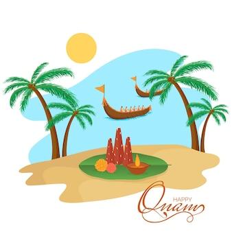 Feliz onam festival design de cartaz com thrikkakara appan idol, lâmpada de óleo acesa (diya) e vallam kali (barco cobra) no fundo do rio sun.