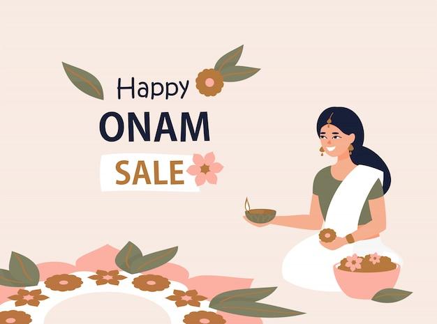 Feliz onam venda design com mulher indiana e rangoli