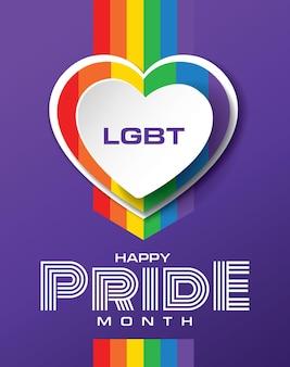 Feliz orgulho mês banner design lgbtq comemorando ilustração vetorial