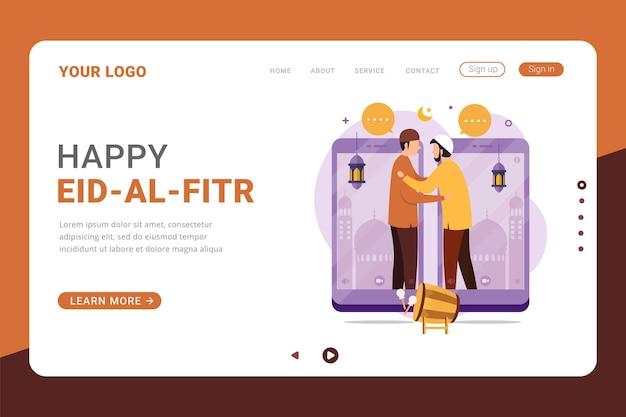 Feliz página de destino do eid al fitr