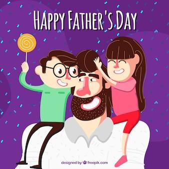 Feliz, pai, dia, seu, crianças, fundo