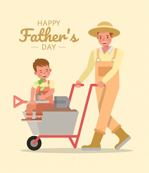 Feliz pai e filho personagem vector design para o conceito de dia dos pais.