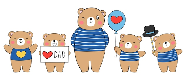 Feliz pai urso e filho para o dia dos pais Vetor Premium