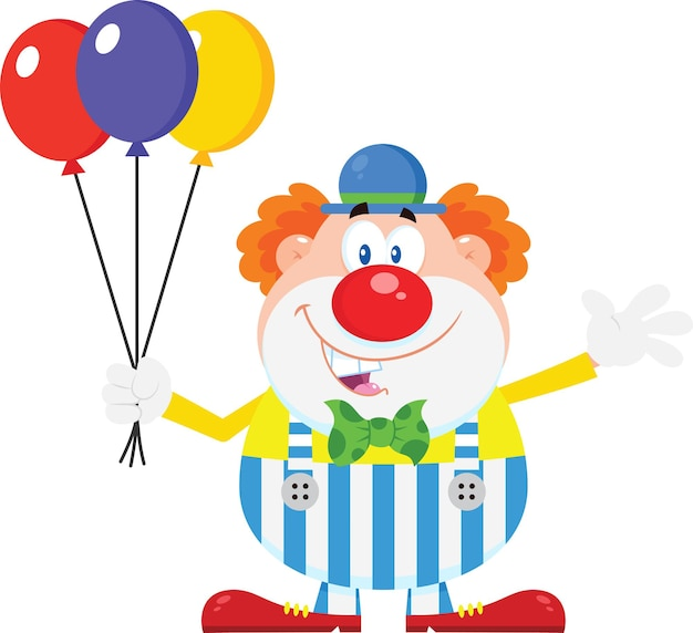 Feliz palhaço dos desenhos animados com balões acenando.