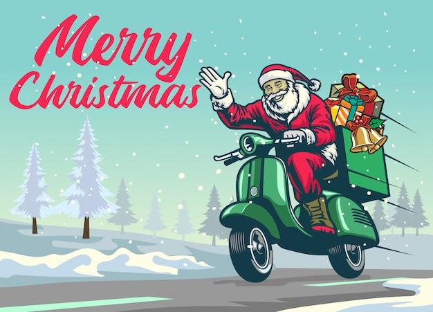 Feliz papai noel andando de scooter vintage no meio do inverno de natal
