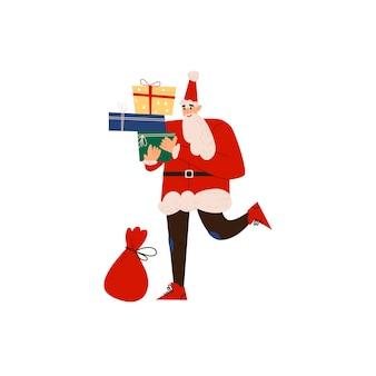 Feliz papai noel carrega uma sacola de presentes design plano ilustração em vetor isolada