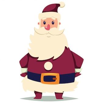 Feliz papai noel cartoon personagem de natal em branco
