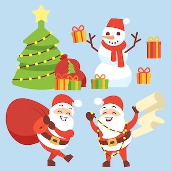 Feliz papai noel personagem plana com saco de presente, boneco de neve, árvore de natal e caixa de presente