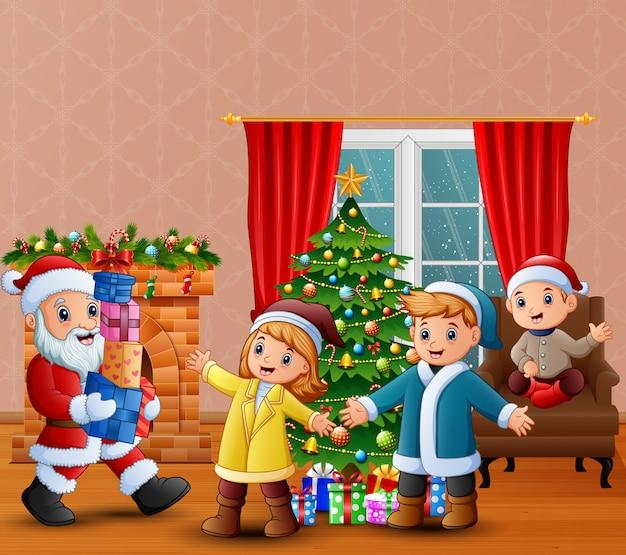 Feliz, papai noel, segurando, um, presentes, para, crianças