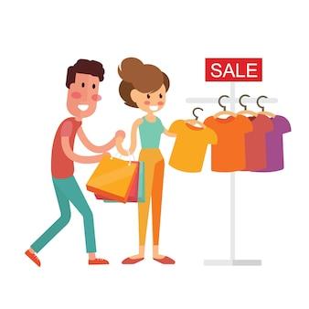 Feliz, par familiar, com, shopping