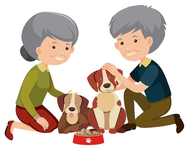 Feliz, par velho, e, cachorros