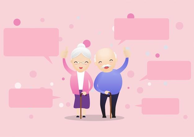 Feliz, par velho, falando