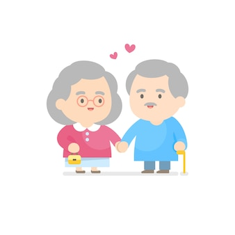 Feliz, par velho, sorrindo, junto