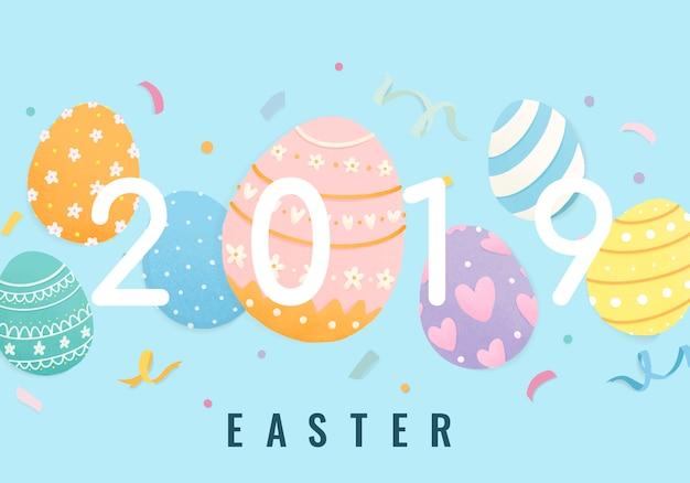 Feliz páscoa 2019 design de cartão